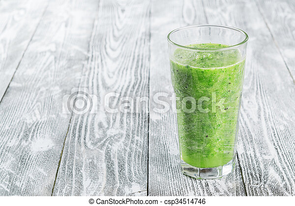 Fresh Green Smoothie from Fruit and Vegetables - csp34514746