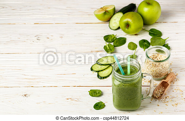 Fresh green smoothie from fruit and vegetables for a healthy lifestyle and ingredients - csp44812724