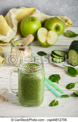 Fresh green smoothie from fruit and vegetables for a healthy lifestyle and ingredients - csp44812706