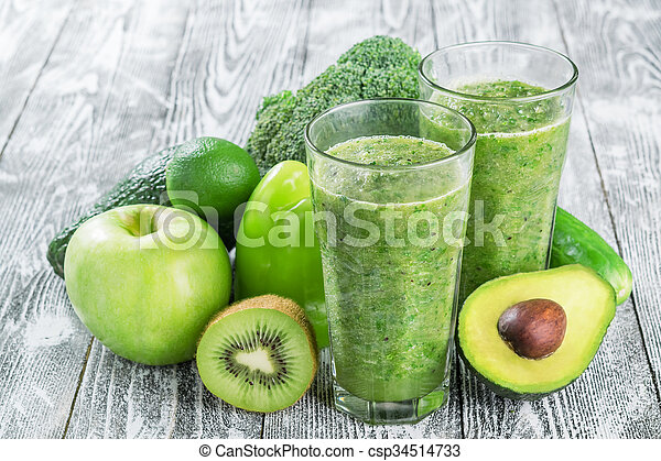 Fresh Green Smoothie from Fruit and Vegetables - csp34514733
