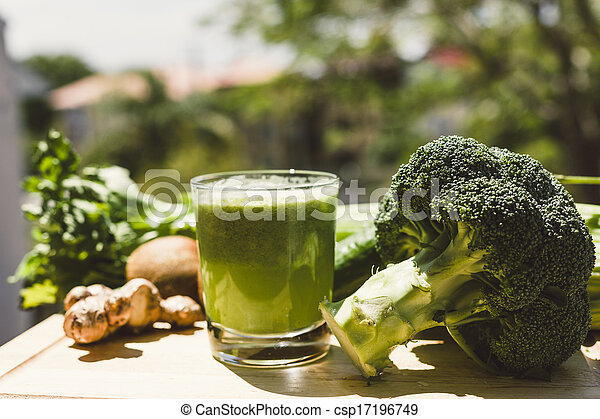 Fresh green vegetable juice - csp17196749