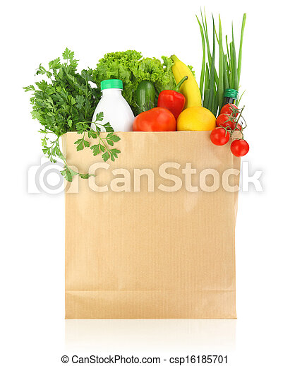 Fresh healthy groceries in a paper bag  - csp16185701