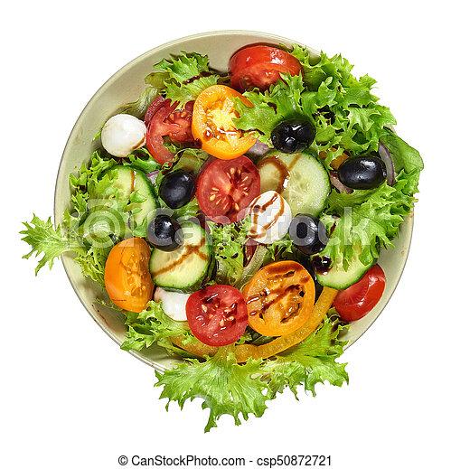Fresh healthy vegetable salad with mozzarella - csp50872721