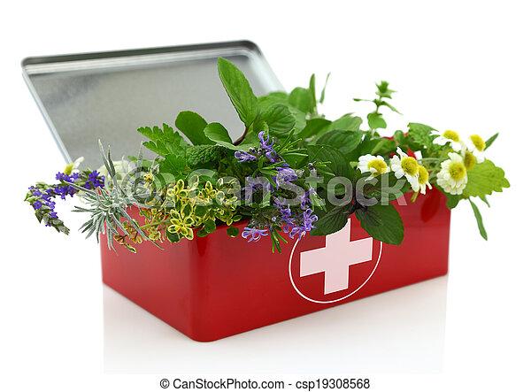 Fresh herbs in first aid kit - csp19308568