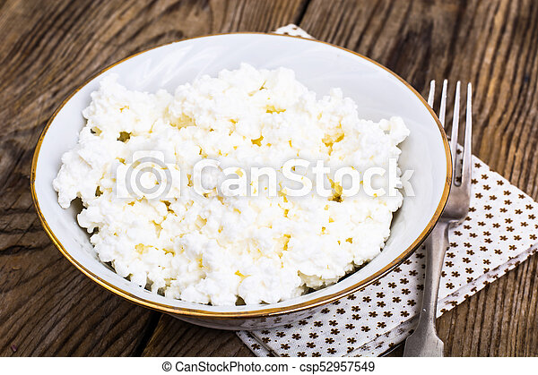Fresh Homemade Cottage Cheese In White Bowl   Csp52957549