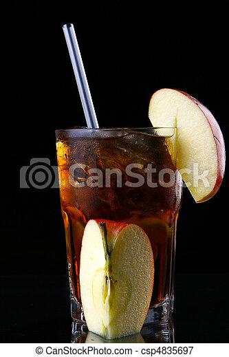 fresh ice tea glass with lime - csp4835697