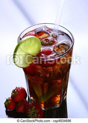 fresh ice tea glass with lime - csp4834696