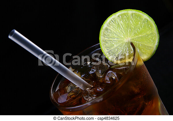 fresh ice tea glass with lime - csp4834625