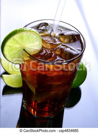 fresh ice tea glass with lime - csp4834685