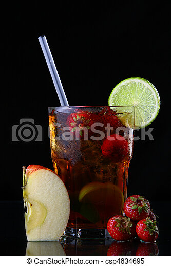 fresh ice tea glass with lime - csp4834695
