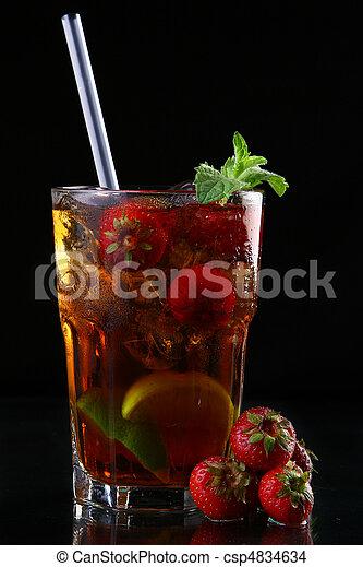 fresh ice tea glass with lime - csp4834634