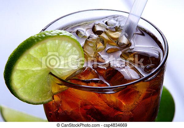 fresh ice tea glass with lime - csp4834669