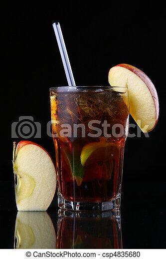 fresh ice tea glass with lime - csp4835680