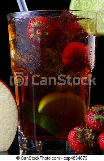 fresh ice tea glass with lime - csp4834673