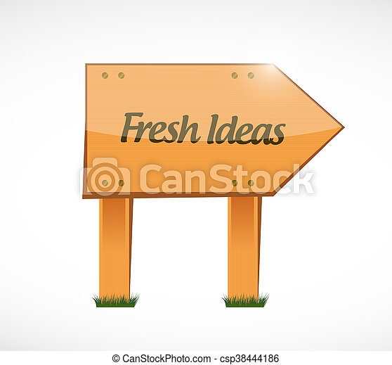 Fresh Ideas wood sign concept - csp38444186