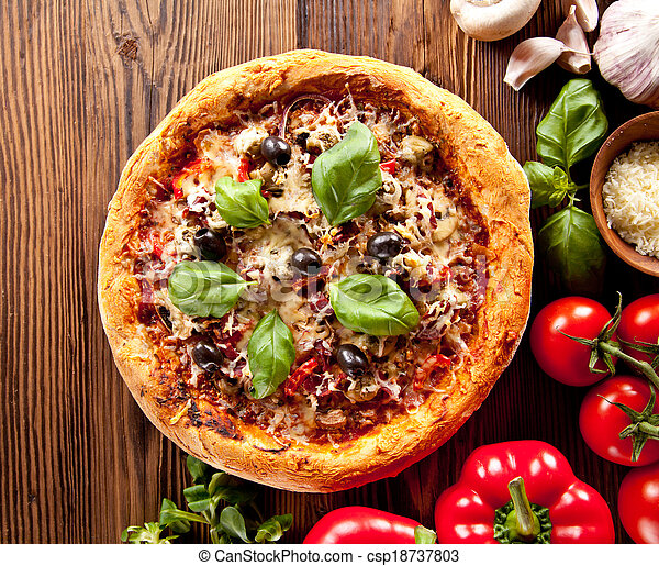 Fresh italian pizza on wood - csp18737803