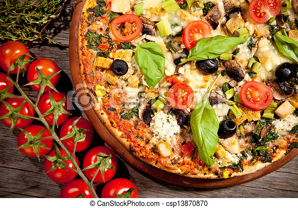 Fresh italian pizza, upper view - csp13870870