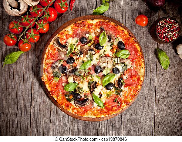 Fresh italian pizza, upper view - csp13870846