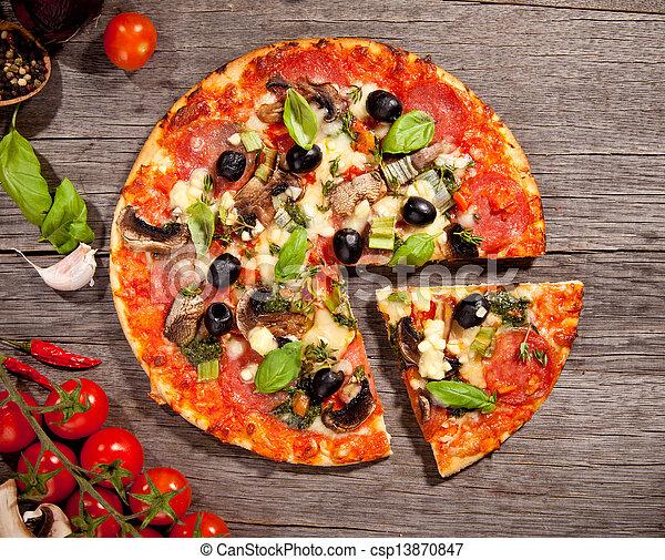 Fresh italian pizza, upper view - csp13870847
