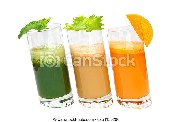 fresh juices from carrot, celery and parsley in glasses isolated on white - csp4150290