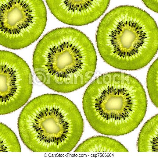 Fresh juicy kiwi slices background - csp7566664