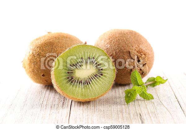 fresh kiwi and leaf - csp59005128