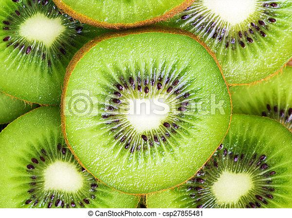Fresh kiwi slices background - csp27855481