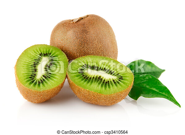 fresh kiwi with cut and green leaves - csp3410564