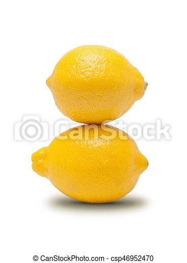 Fresh lemon isolated on white background - csp46952470