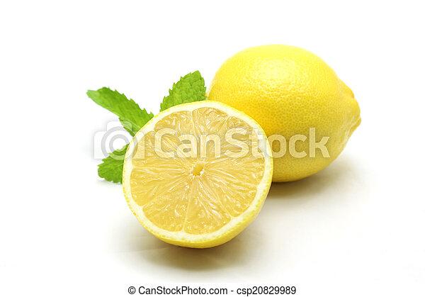 Fresh lemon isolated on white background - csp20829989