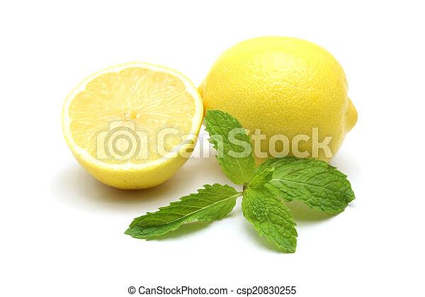Fresh lemon isolated on white background - csp20830255