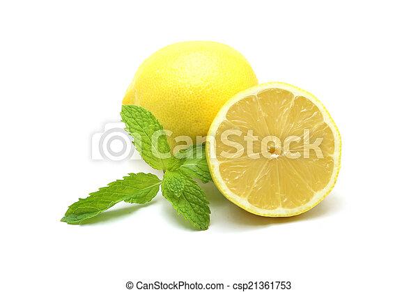 Fresh lemon isolated on white background - csp21361753