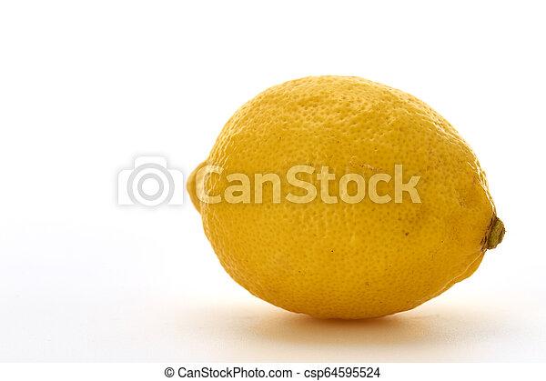 Fresh lemon isolated on white background - csp64595524