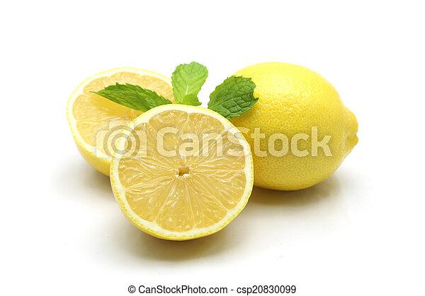 Fresh lemon isolated on white background - csp20830099