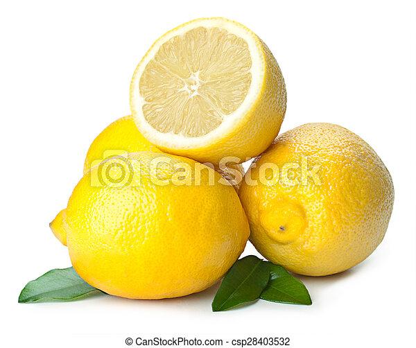 Fresh lemon isolated on white background - csp28403532