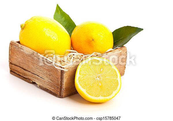 Fresh lemon, Isolated on white background - csp15785047