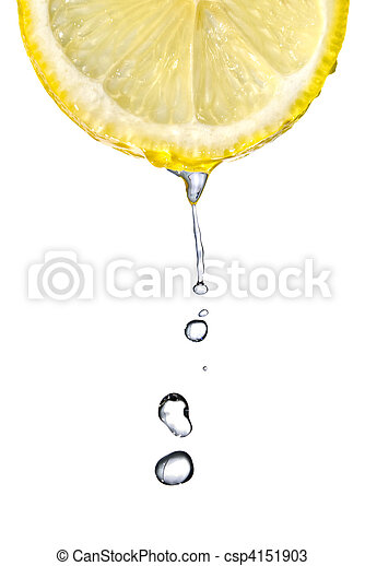 Fresh lemon slice with water drops isolated on white - csp4151903