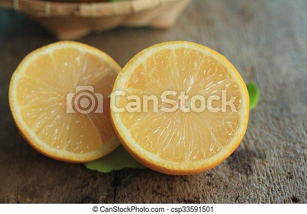 fresh lemon with leaves - csp33591501