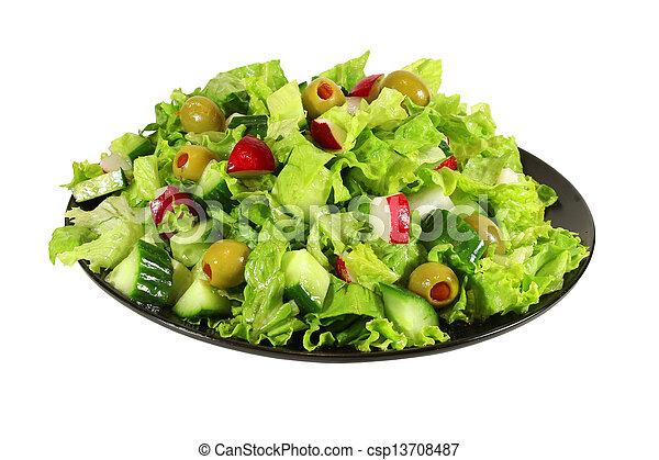 fresh lettuce spring salad - csp13708487