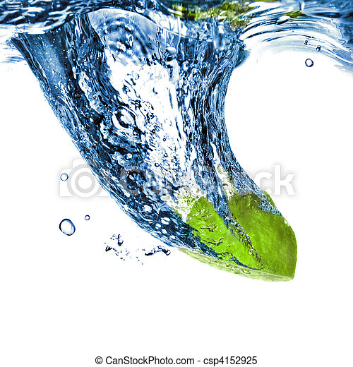 Fresh lime dropped into blue water isolated on white - csp4152925