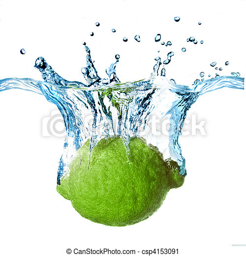 Fresh lime dropped into water with splash isolated on white - csp4153091