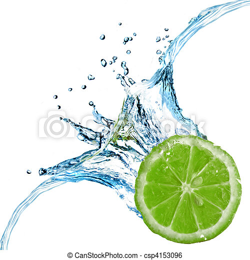 Fresh lime dropped into water with splash isolated on white - csp4153096