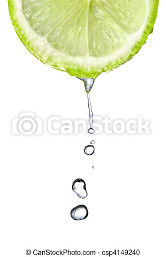 Fresh lime slice with water drops isolated on white - csp4149240