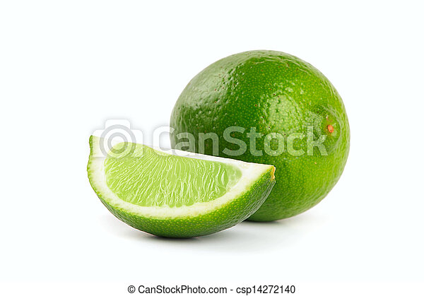 Fresh limes Isolated on white - csp14272140
