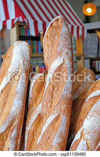 Fresh Loafs Of French Bread Outside A Bakery In Paris France