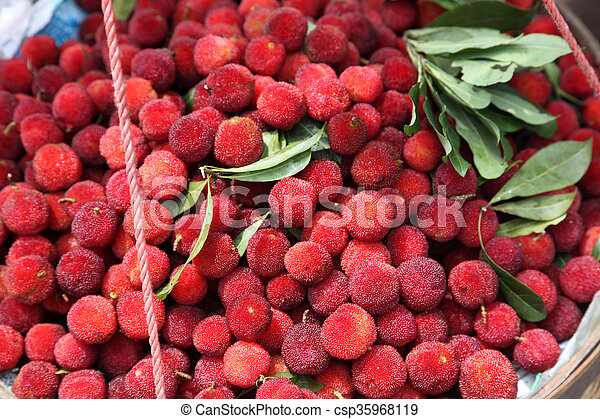 Fresh Lychee with leaves - csp35968119