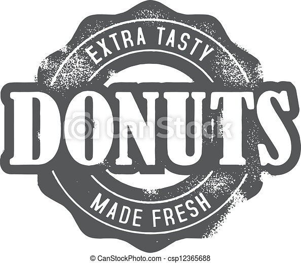 Fresh Made Donuts Bakery Stamp - csp12365688