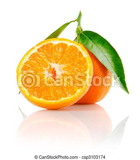 fresh mandarine fruit with cut and green leaves - csp3103174