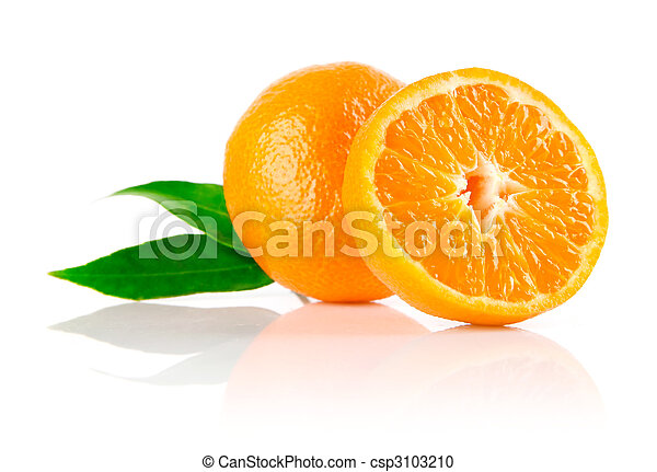 fresh mandarine fruit with cut and green leaves - csp3103210