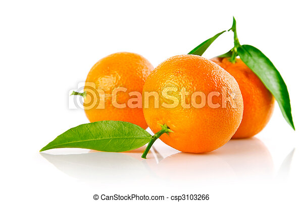 fresh mandarine fruits with green leaves isolated - csp3103266